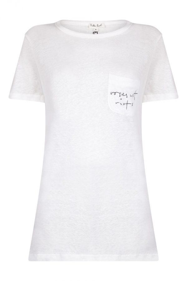 By Rory X Rotten Roach 'Roses Not Riots' Embroidered Linen Tee | Collaboration | By Rory