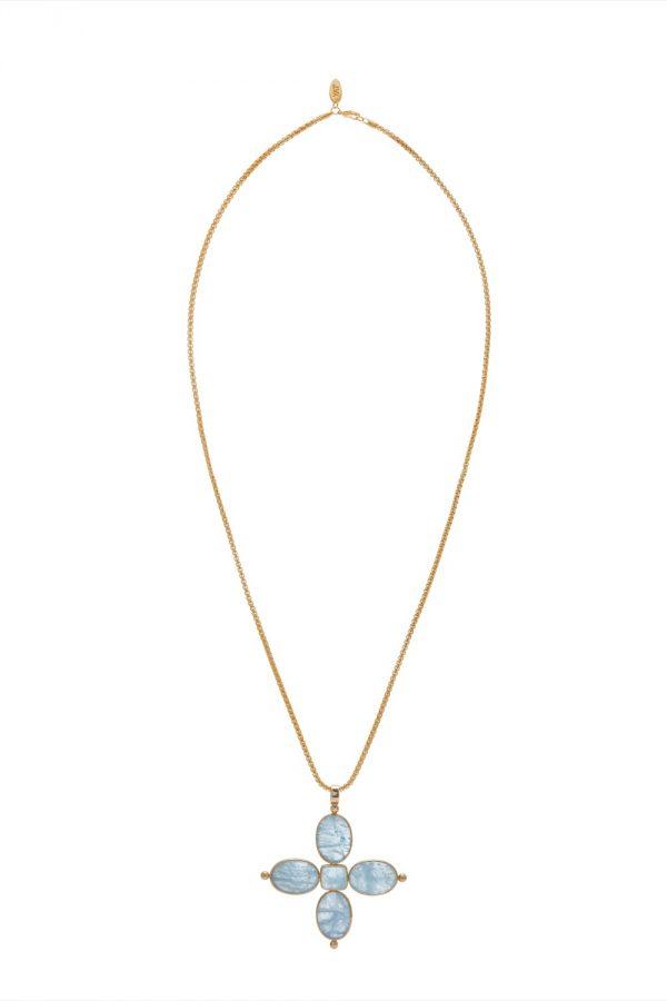 Aquamarine 5-stone Cross Pendant on Chain
