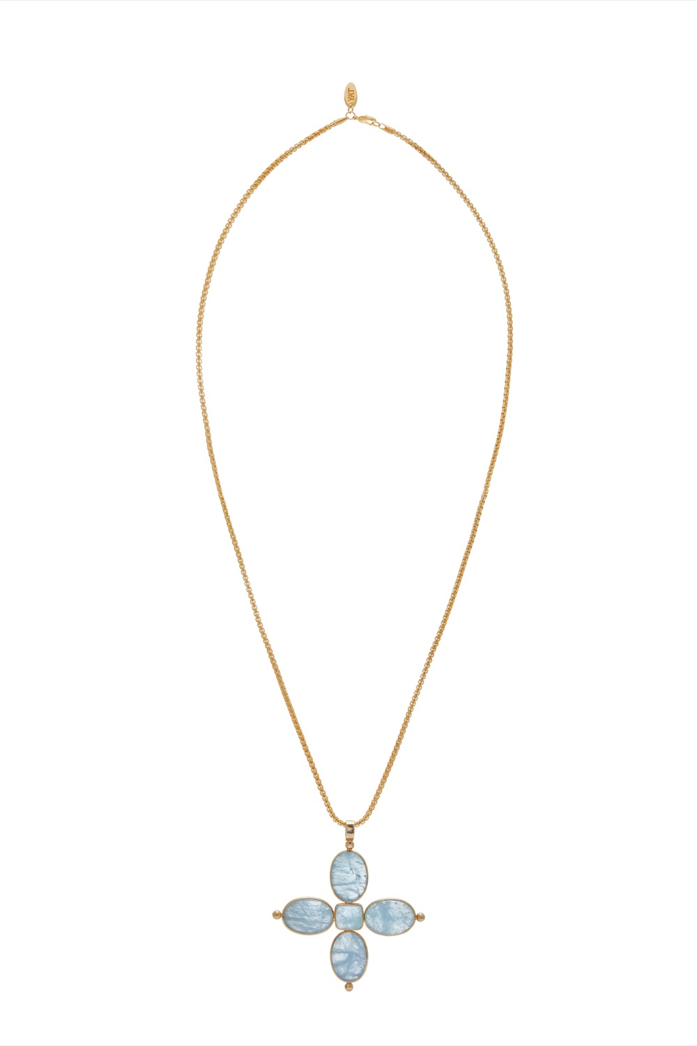 Aquamarine 5 stone cross pendant on chain tay house brand by rory aloadofball Image collections