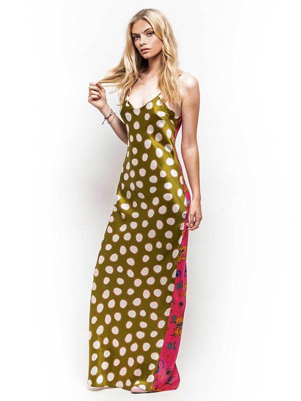 Olive Spot & Love Bugs Maxi Silk Slip Dress