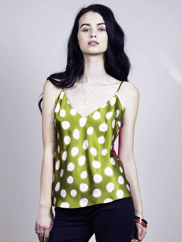 Olive Spots & Love Bugs Silk Cami Top