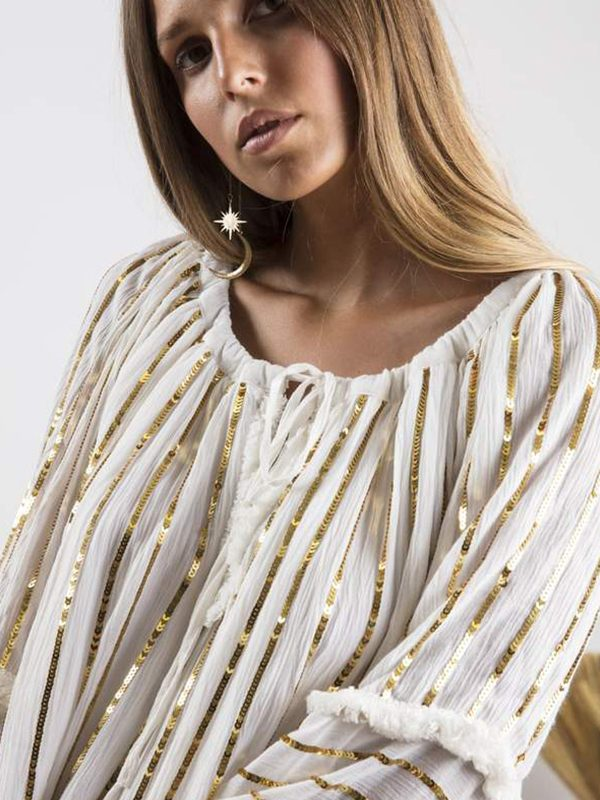 Bianca Off White : Gold Sequins Lines2
