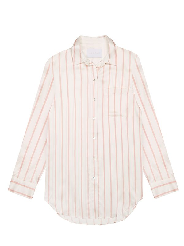 Blush Stripe Silk Sleep Shirt