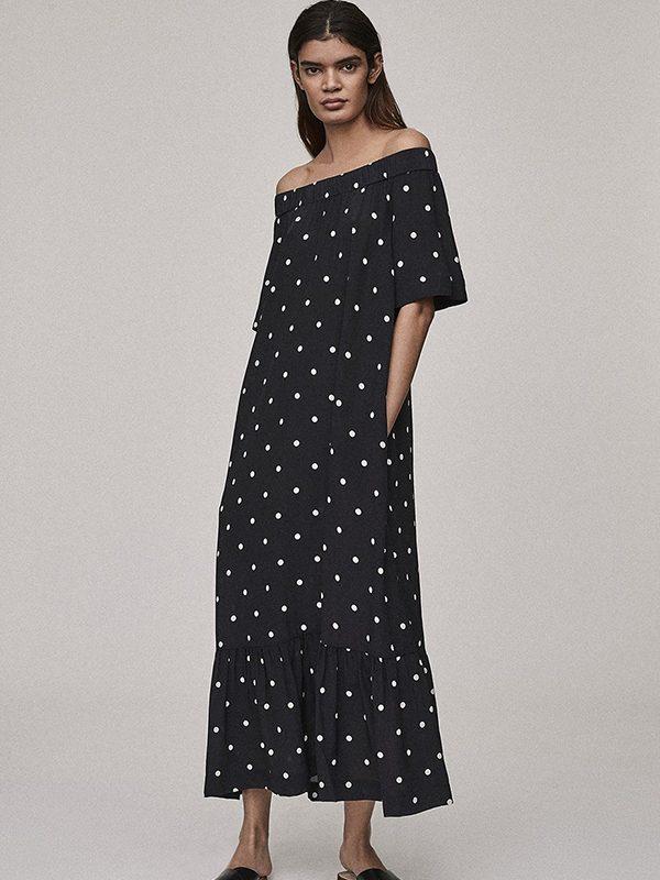 Jet Black Polka Silk Crepe Off The Shoulder Dress