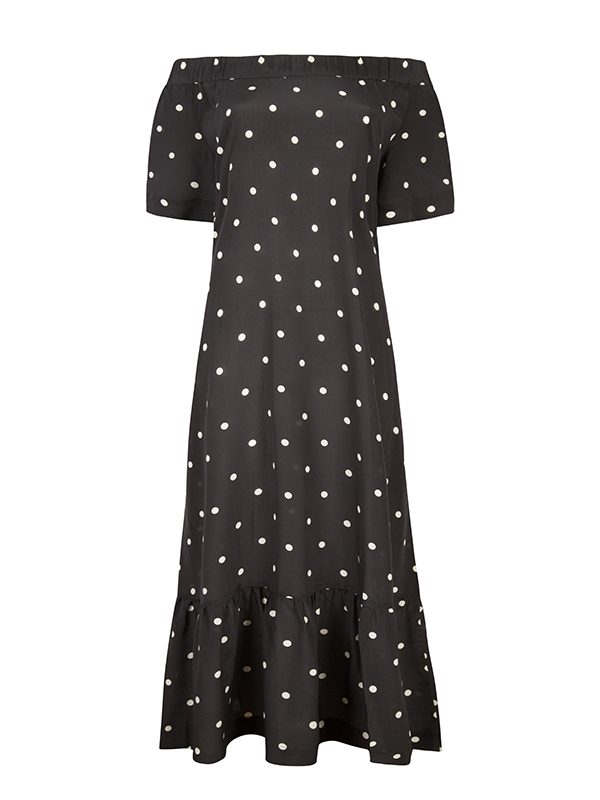 Jet Black Polka Silk Crepe Off The Shoulder Dress