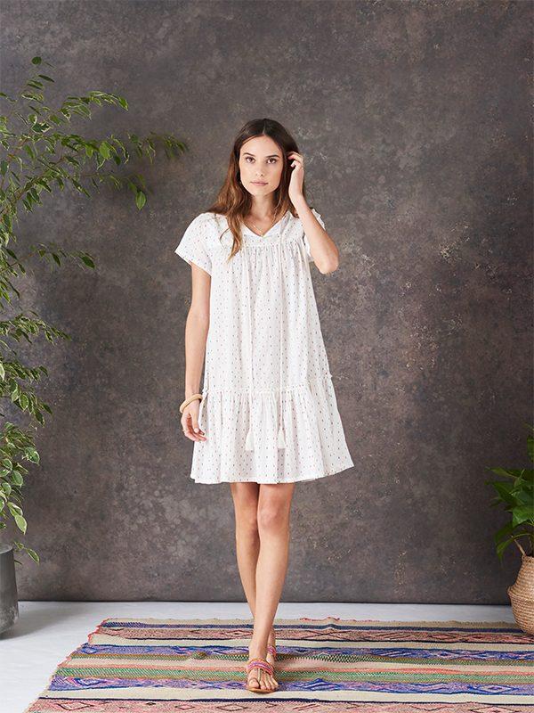Ora Dress (Ecru & Multi)