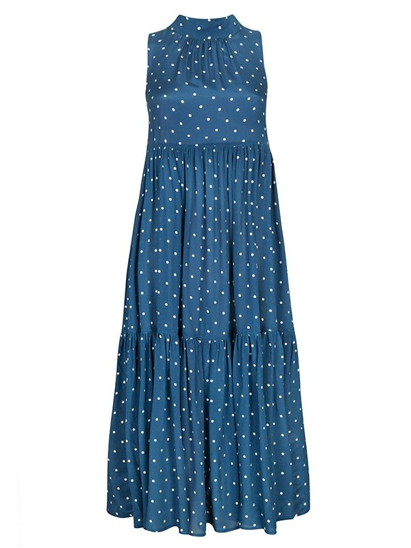 Oasis Blue Polka Long Neck Tie Dress