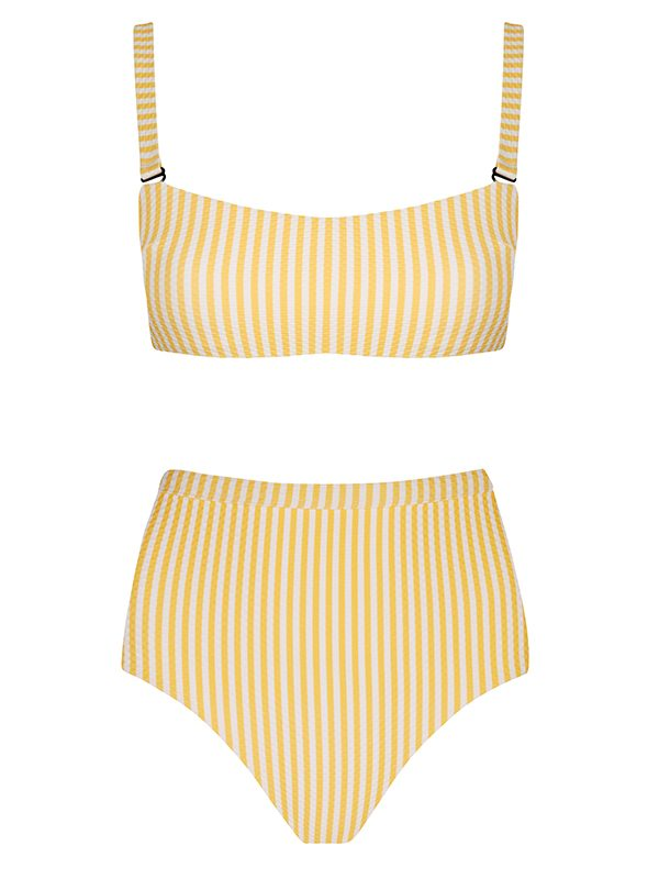 Yellow Dense Line Bandeau With High Waisted Bottom
