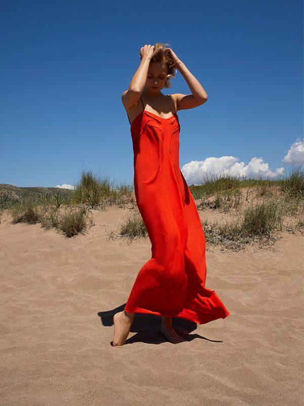 Empire Dress in Block Silk (Fire Red)