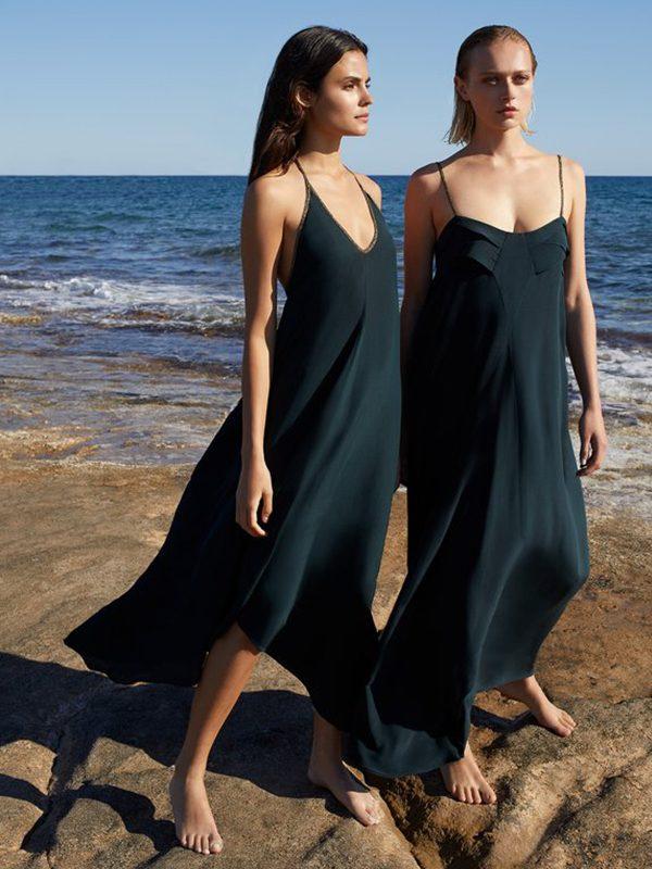 Empire Dress in Block Silk (Black)